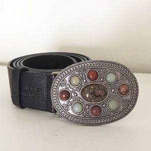 Fossil Accessories - Fossil Belt w/ Stone Look Embellished Oval Buckle